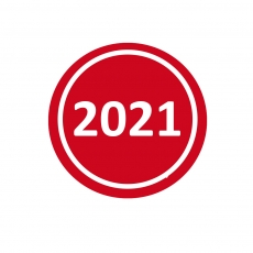 Jahresaufkleber 2021 Rot 20mm Rund