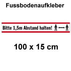 Fussbodenaufkleber Abstand halten 100 x 15 cm