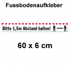 Fussbodenaufkleber Abstand halten 60 x 6 cm