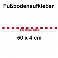 Fussbodenaufkleber Abstandstreifen mit Text 50 x 4 cm Rot