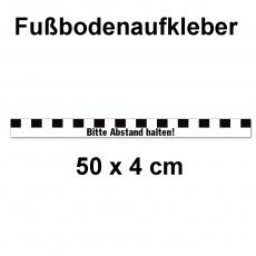 Fussbodenaufkleber Abstandstreifen mit Text 50 x 4 cm Schwarz