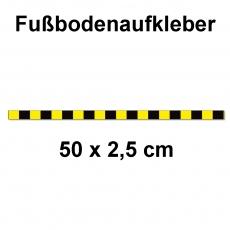 Fussbodenaufkleber Abstandstreifen  50 x 2,5 cm Schwarz-Gelb