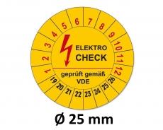 Plaketten Elektrocheck - 25 mm Gelb