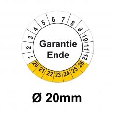 Aufkleber Garantie Ende  - 20mm weiss-gelb