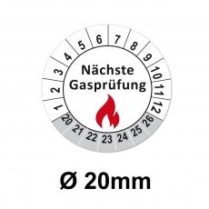 Plaketten nächste Gasprüfung- 20mm weiss-grau
