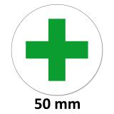 24 Aufkleber Grünes Kreuz Rund 50mm