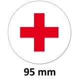12 Aufkleber Rotes Kreuz Rund 95 mm