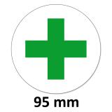 12 Aufkleber Grünes Kreuz Rund 95 mm