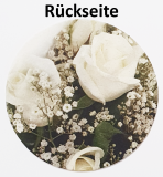 50 Motiv-Glassuntersetzer-301 rund 2-Seitig Blumn Rot / Weiss