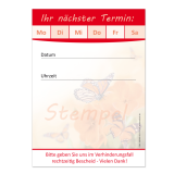 Terminblock-501  (1 Stück) Rot mit Schmetterling-Motiv
