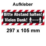 Abstand Halten Aufkleber Gross 297 x 105 mm