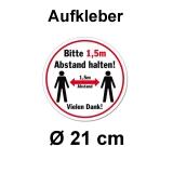 Aufkleber Abstand halten Ø 21 cm