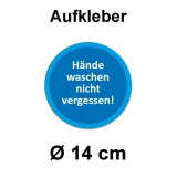 Aufkleber Hände waschen nicht vergessen Ø 14 cm