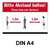 A4 Poster -  Abstand halten - Rot