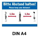 A4 Poster -  Abstand halten - Blau