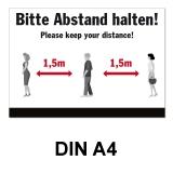 A4 Poster -  Abstand halten - Schwarz