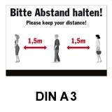 A3 Poster -  Abstand halten - Schwarz