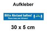 Aufkleber Bitte Abstand halten 30 x 5 cm Blau