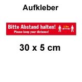 Aufkleber Bitte Abstand halten 30 x 5 cm Rot