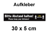 Aufkleber Bitte Abstand halten 30 x 5 cm Schwarz