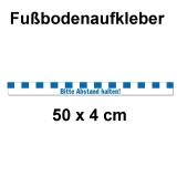 Fussbodenaufkleber Abstandstreifen mit Text 50 x 4 cm Blau
