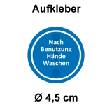 12 Aufkleber Nach Benutzung Hände waschen Ø 4,5 cm