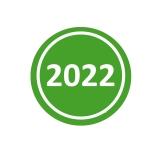 Jahresaufkleber 2022 Grün 20mm Rund