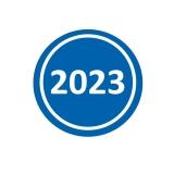 Jahresaufkleber 2023 Blau 20mm Rund