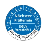 Plaketten DGUV Vorschrift 3 - blau 25mm
