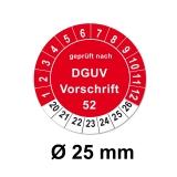 Plaketten DGUV Vorschrift 52 - rot 25mm