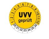 Plaketten UVV Geprüft - gelb 25mm