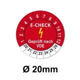 Plaketten Elektro Check - 20 mm Rot