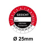 Plaketten GEEICHT 25mm rot/schwarz