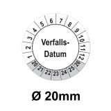 Aufkleber Verfallsdatum   - 20mm weiss-grau