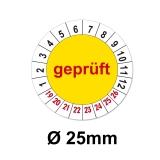 Plaketten Geprüft - gelb 25mm