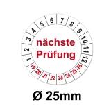 Plaketten nächste Prüfung - weiss 25mm