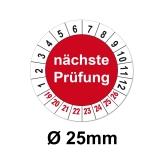 Plaketten nächste Prüfung - rot 25mm