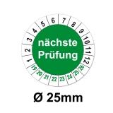 Plaketten nächste Prüfung - grün 25mm