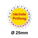 Plaketten nächste Prüfung - gelb 25mm