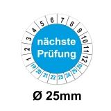 Plaketten nächste Prüfung - blau 25mm