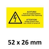 Warnschild Hauptschalter Spannung DE/EN 52x26mm