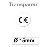CE Zeichen Transparent Aufkleber - 15 mm Rund
