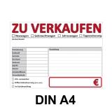 KFZ Auto Verkaufsschild-1 DIN A4 Rot-Weiss Beidseitig