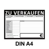 KFZ Auto Verkaufsschild-1 DIN A4 Schwarz Beidseitig