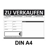 KFZ Auto Verkaufsschild-V2 DIN A4 Schwarz Beidseitig