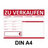 KFZ Auto Verkaufsschild-V2 DIN A4 Rot Beidseitig