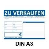 KFZ Auto Verkaufsschild-V2 DIN A3 Blau Beidseitig