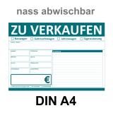 KFZ Auto Verkaufsschild-V2 DIN A4 abwischbar Türkis