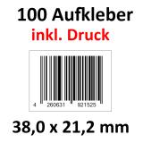 100 Barcode-Aufkleber 38 x 21,2 mm mit Druck