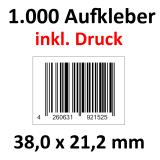 1.000 Barcode-Aufkleber 38 x 21,2 mm mit Druck